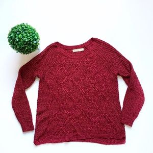 Faded Glory Cable Knit Chunky Sweater Red Large